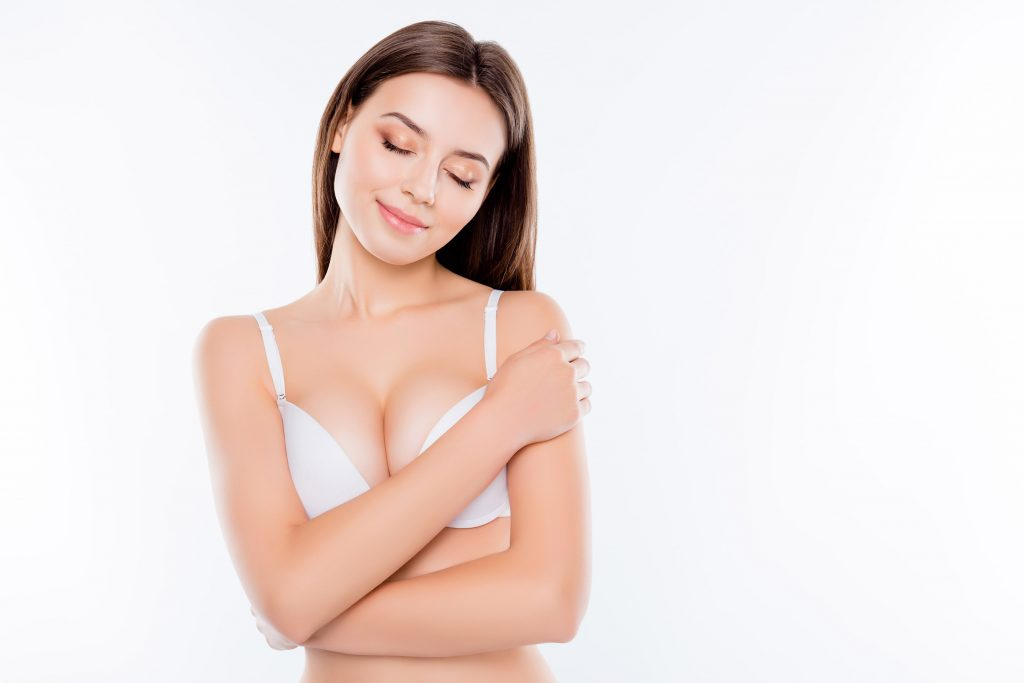Beautiful Woman Happy with Her Breast Augmentation