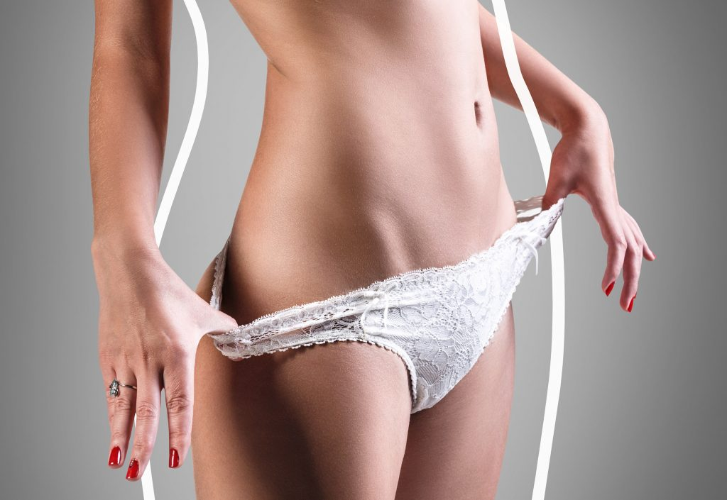 Woman In Panties Shows Body with Lines Before Body Contouring